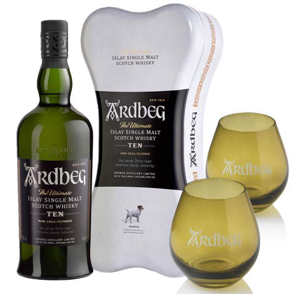 Ardbeg Ten Years Old Ardbone + 2 Ardbeg Whisky-Tumbler