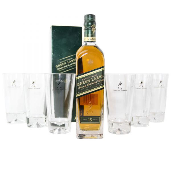 2x Johnnie Walker Green Label 0,7 Liter + 6 Gläser