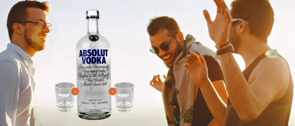 Absolut Vodka 1 Liter + 2 Shot Gläser