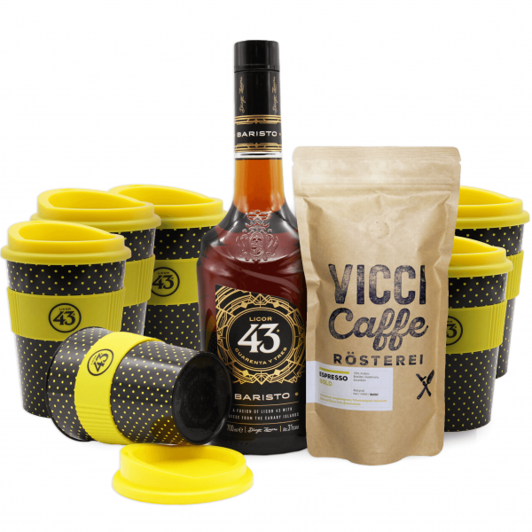 Licor 43 Baristo, VICCI Caffe gold + 6 Kaffeebecher gratis