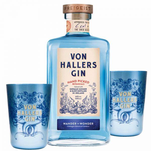 """Von Hallers Gin + 2 Von Hallers Gin Becher """"Wander-Wonder"""""""