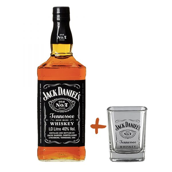 Jack Daniel´s Tennessee Whiskey 40% 1 Liter + 1 Glas