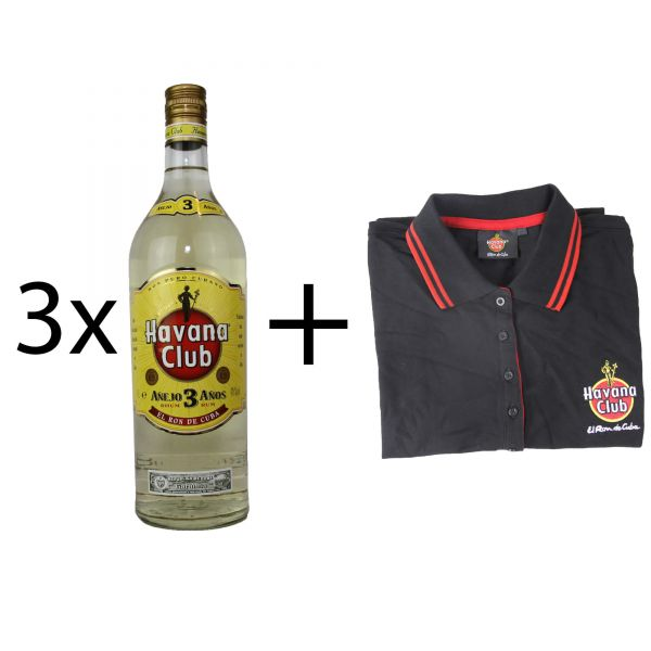 3x Havana Club 3 Years 1 Liter + Havana Club Polo Shirt